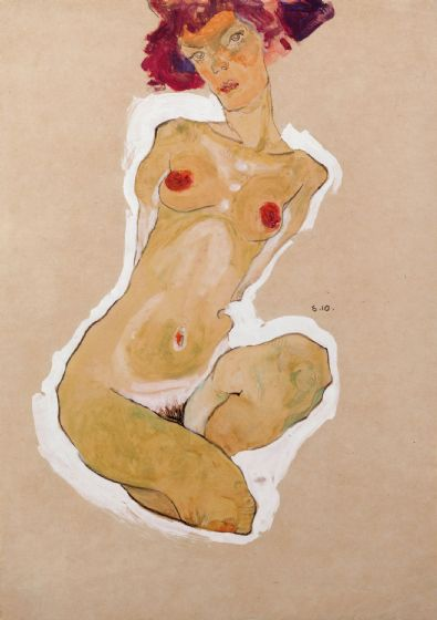 Schiele, Egon: Squatting Female Nude. Fine Art Print/Poster. Sizes: A4/A3/A2/A1 (003725)